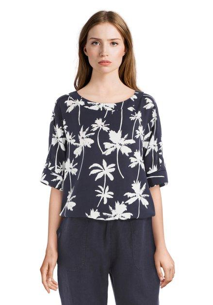 Donkerblauwe blouse met palmbomen