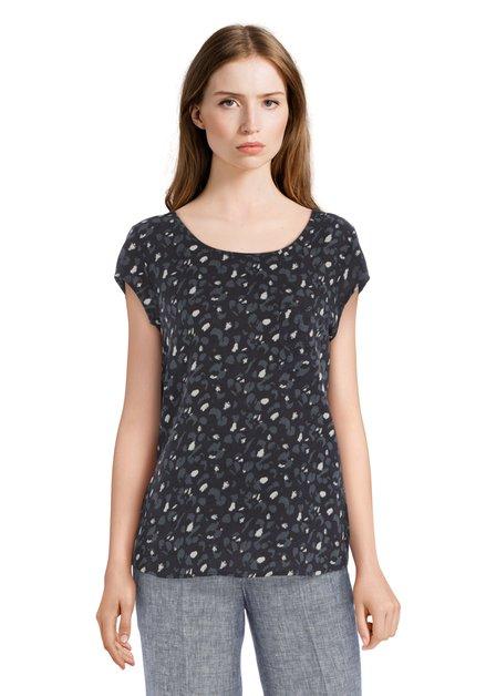 Donkerblauwe blouse met panterprint