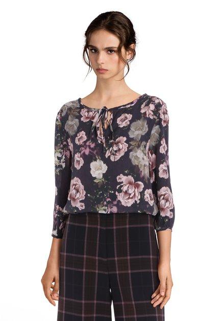 Donkerblauwe blouse met roze bloemen