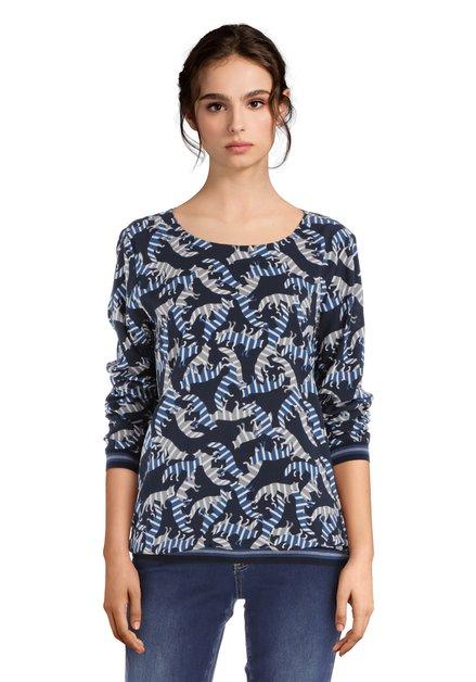 Donkerblauwe blouse  met vosjes