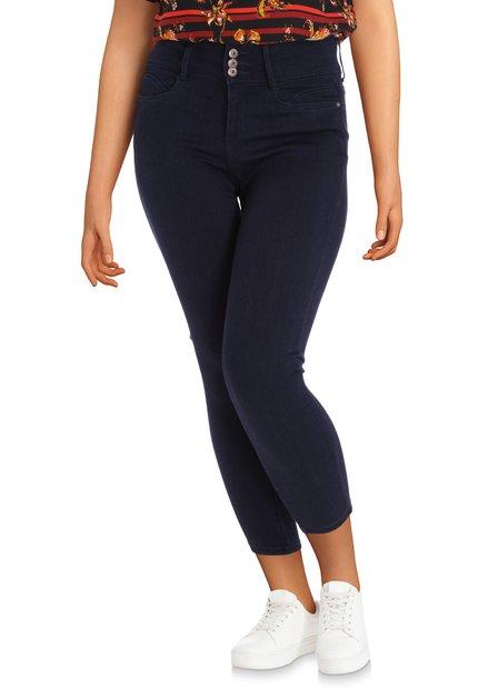 Donkerblauwe broek met hoge taille - slim fit