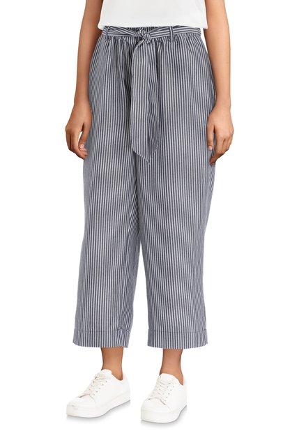 Donkerblauwe broek met streepjes – loose fit