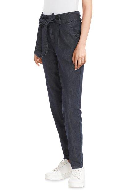 Donkerblauwe broek met taillelint - slim fit