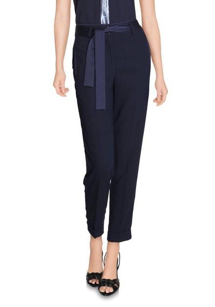 Donkerblauwe broek met taillelus - slim fit