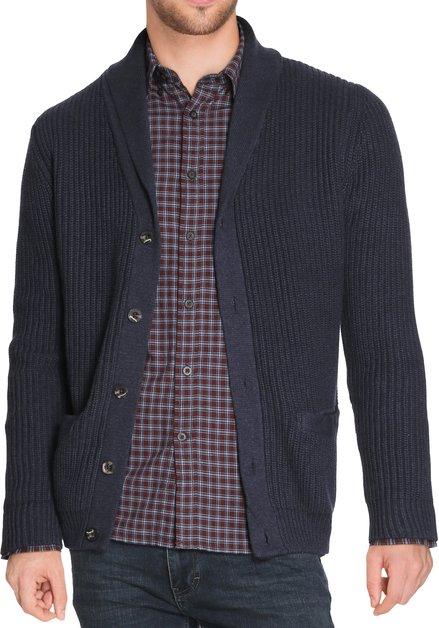 Donkerblauwe cardigan in dik tricot