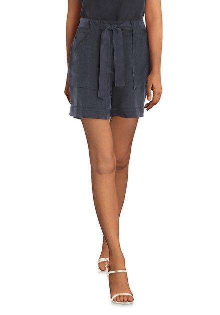 Donkerblauwe cupro short