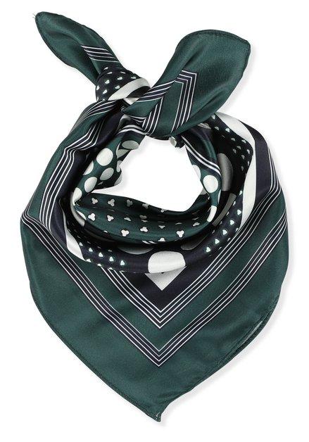 Donkerblauwe en groene foulard met stippen