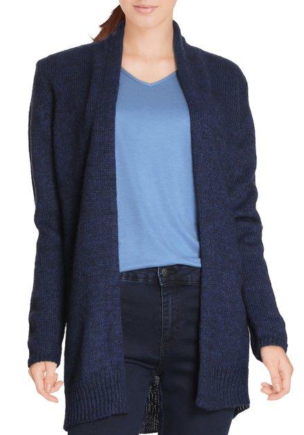 Donkerblauwe gebreide cardigan met mohair