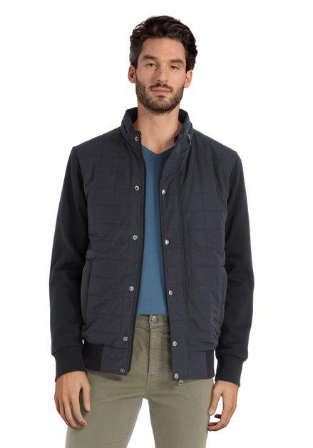 Donkerblauwe gematelasseerde jas met kap in kraag