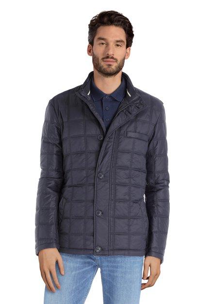 Donkerblauwe gematelasseerde jas zonder kap