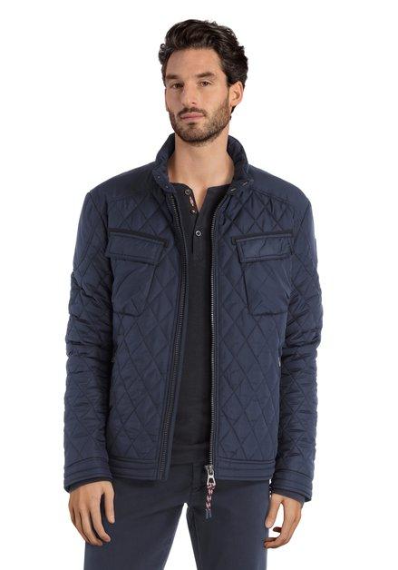Donkerblauwe gematelasseerde vest zonder kap