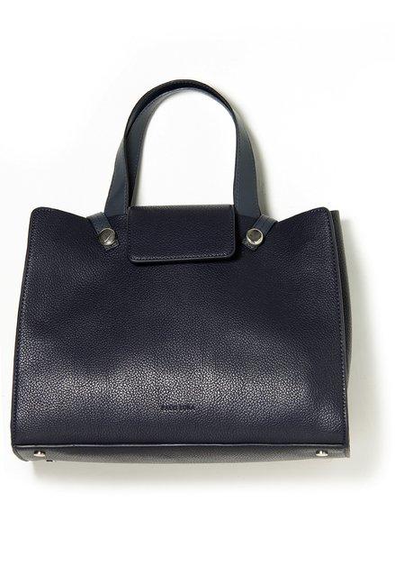 Donkerblauwe handtas in kunstleder met structuur