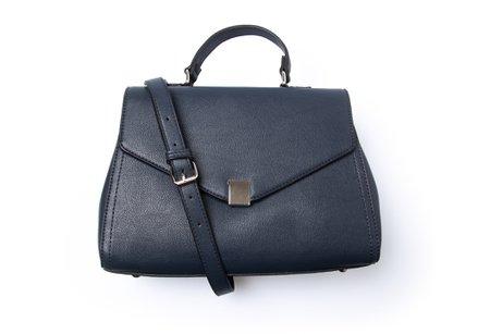 Donkerblauwe handtas in kunstleder