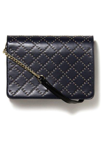 Donkerblauwe handtas met goudkleurige studs