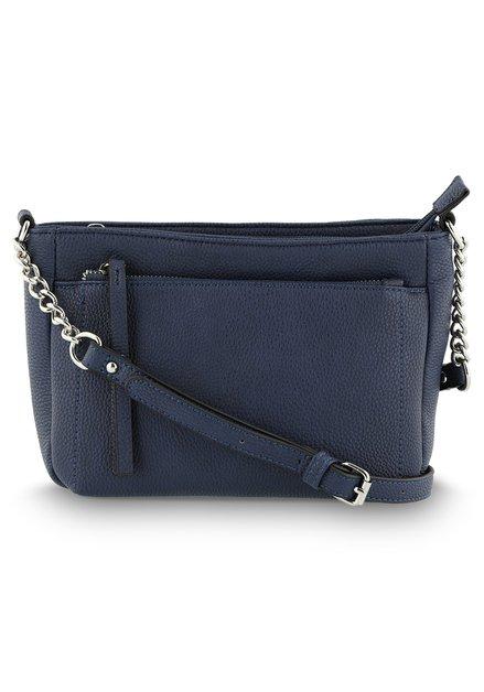 Donkerblauwe handtas met schouderlint - kunstleder