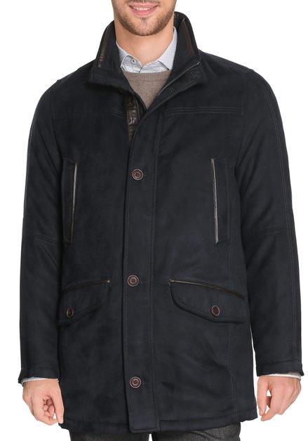 Donkerblauwe jas met faux-daim biesje