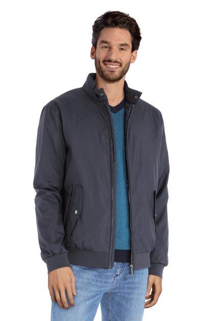 Donkerblauwe jas met rits