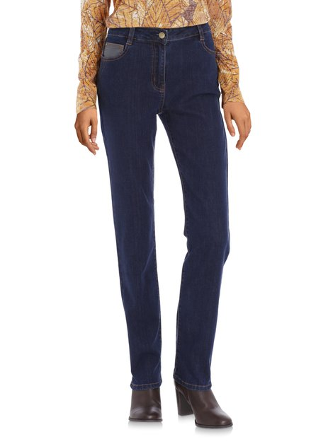 Donkerblauwe jeans in stretchstof – straight fit