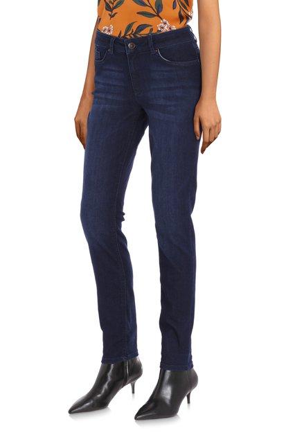 Donkerblauwe jeans in stretchstof - slim fit