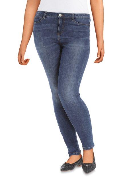 Donkerblauwe jeans met bruine stiksels - slim fit