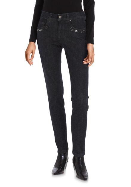 Donkerblauwe jeans met strass – slim fit