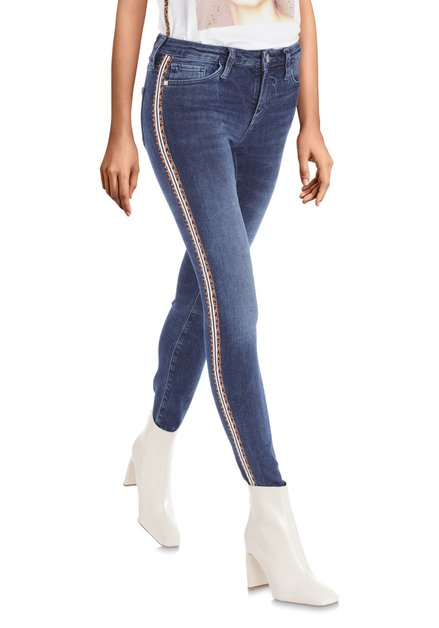 Donkerblauwe jeans met tijgerdetail - slim fit