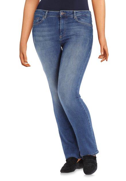 Donkerblauwe jeans met wassing - regular fit