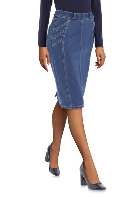 Donkerblauwe jeansrok in stretch
