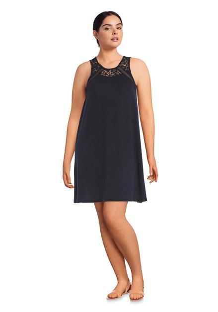 Donkerblauwe jurk met kant