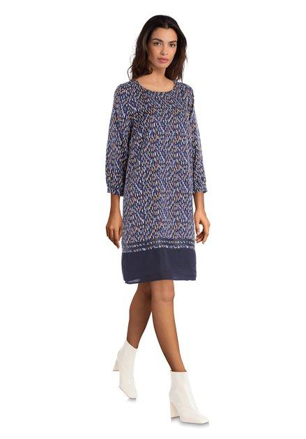 Donkerblauwe jurk met kleurrijke vlekjes