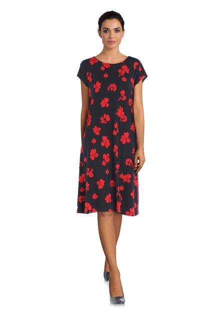 Donkerblauwe jurk met rode bloemen