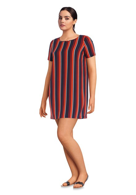 Donkerblauwe jurk met rode strepen