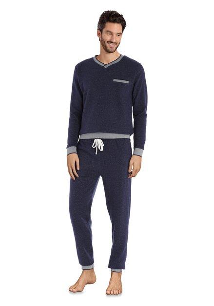 Donkerblauwe katoenen pyjama met spikkel