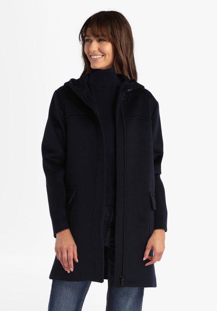 Donkerblauwe mantel met kap