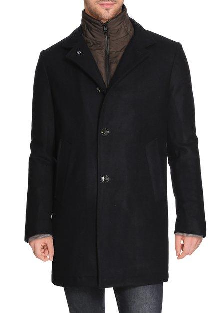 Donkerblauwe mantel met stormflap