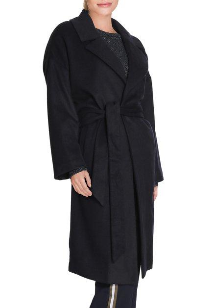 Donkerblauwe mantel met taillelint
