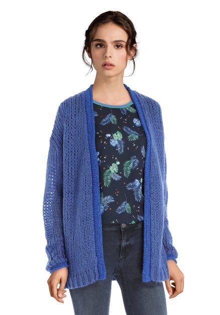 Donkerblauwe open cardigan met lurex