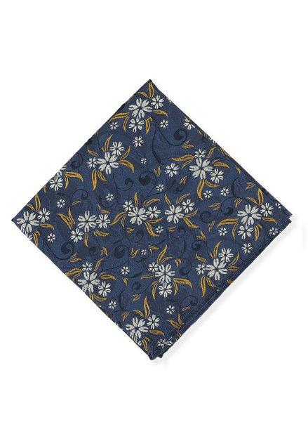 Donkerblauwe pochet met oranje bloemenprint