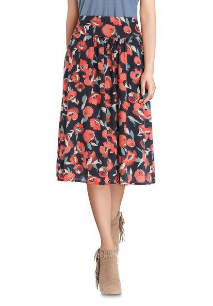 Donkerblauwe rok met bloemenprint