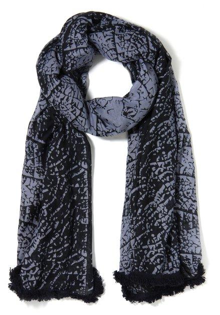 Donkerblauwe semitransparante sjaal met print