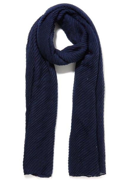 Donkerblauwe sjaal in geribde voile
