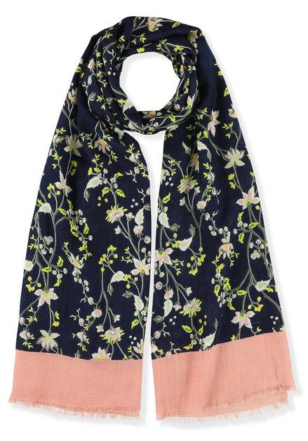 Donkerblauwe sjaal met fijne bloemenprint