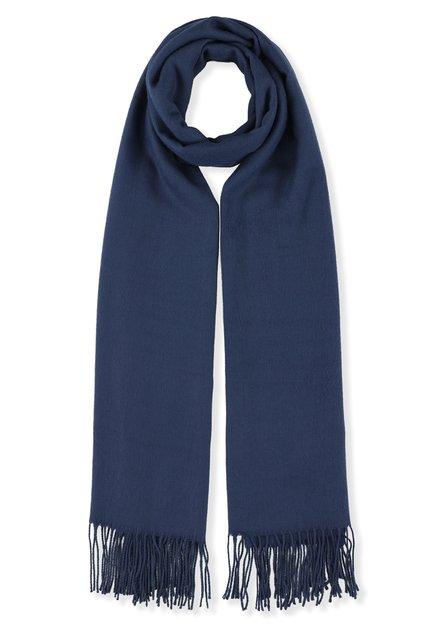 Donkerblauwe sjaal met kasjmierwol