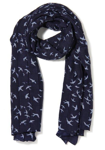 Donkerblauwe sjaal met lichtblauwe vogels