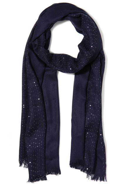 Donkerblauwe sjaal met pailletten
