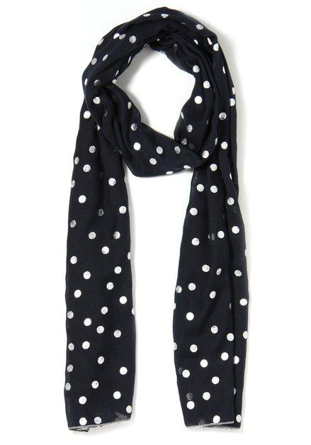 Donkerblauwe sjaal met zilverkleurige bollen