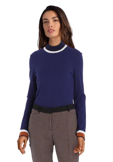 Donkerblauwe trui in geribd jersey
