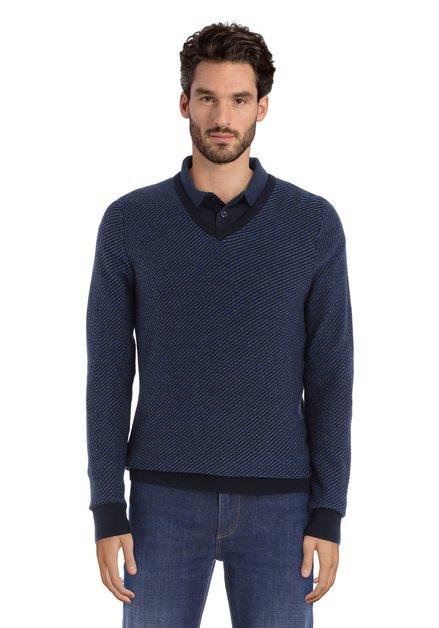 Donkerblauwe trui in katoentricot met V-hals