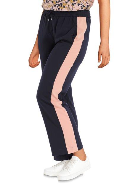 Donkerblauwe wijde broek met roze strepen