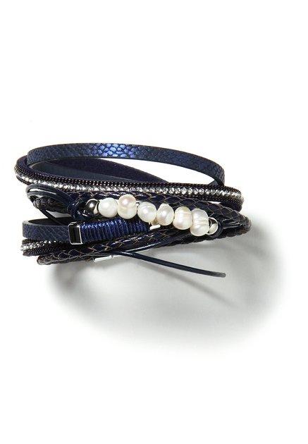 Donkerblauwe wikkelarmband